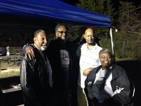 Dwaine Caraway with supporters Tuesday night. He lost to John Wiley Price in the Dallas County Commissioner race.