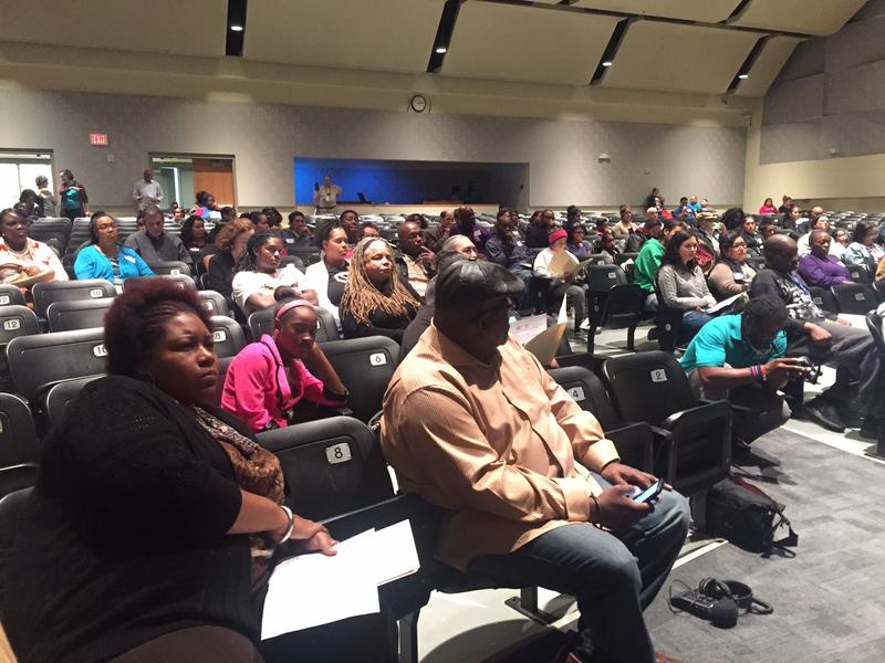Parents and students at Dade Middle School attended a meeting last fall to learn more about the community school model.