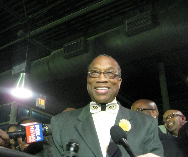 A victorious Dallas County Commissioner John Wiley Price, at his party on North Riverfront Blvd
