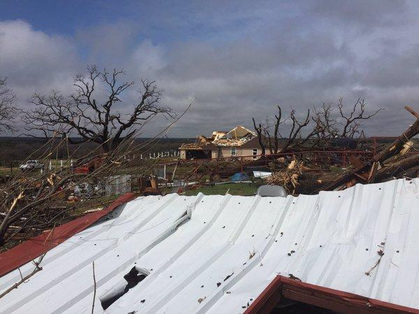 Damage in Cool, Texas after an EF-1 tornado struck the rural town March 7.