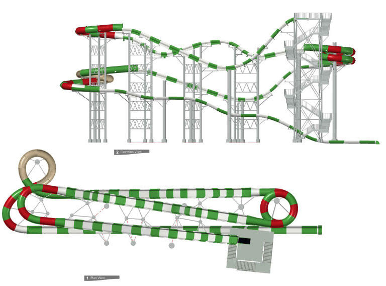 Design mockups of MASSIV, the tallest water coaster in the world, opening this summer at Schlitterbahn.