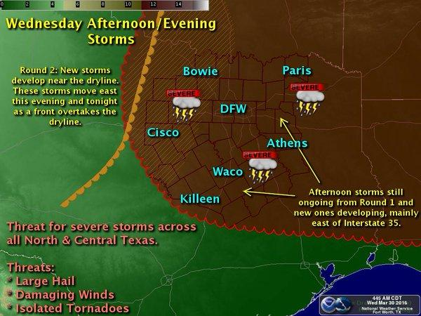 Here's where you can expect storms this afternoon in North Texas.