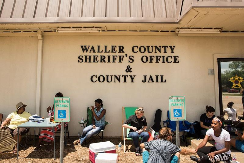 Vigil at the Waller Co. sheriff's office in Hempstead, Texas for Sandra Bland, the 28-year-old woman who died in the jail days after arriving in the area to start a new job, in July 2015.