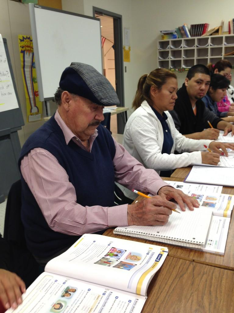 Pablo Valverde, 85, says it's harder these days to retain what he learns, but that hasn't deterred him from attending school. His ESL class meets at the James W. Fannin school in Dallas Monday through Thursday.
