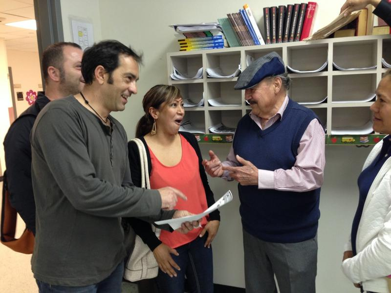 Pablo Valverde is the oldest student in his class and often one of the funniest. Here he jokes with Mirella Patlan, Juan Antonio de Lis and Rafael Fermin.