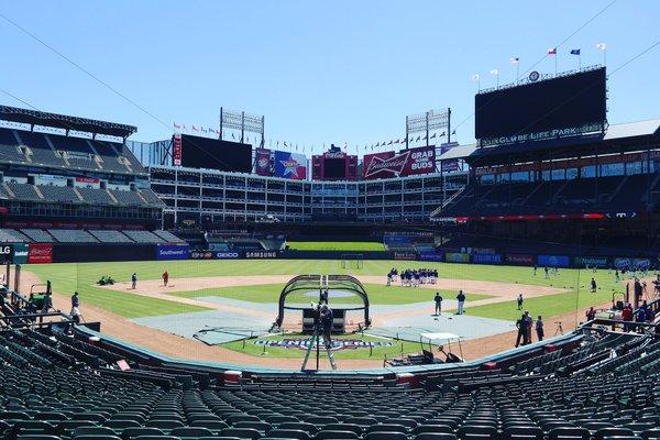 An empty Globe Life Park on Sunday, April 3 before thousands of fans fill the seats this afternoon for opening day.