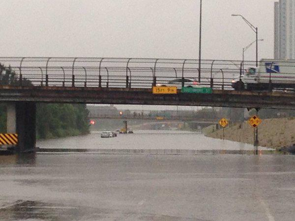 State Highway 288 in Houston was among many roads covered with water Monday morning.