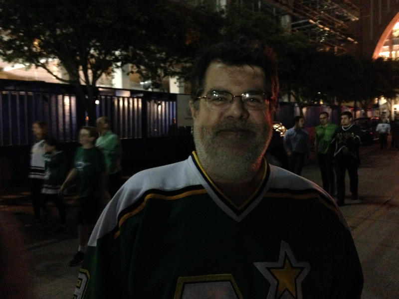 Jim Conrad, a happy Dallas Stars fan after his hockey team beat the Minnesota Wild. Conrad grew up in Minnesota, and some relatives are still angry the North Stars left the state for Texas to become the Stars