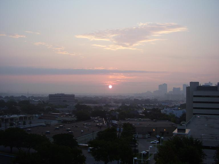 A view of Fort Worth on a red ozone alert day.