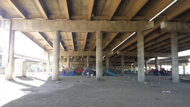Tent City is underneath Interstate 45 near downtown Dallas.