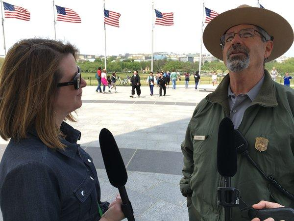 'Think' host Krys Boyd tours the Washington Monument with a ranger from the National Park Service.