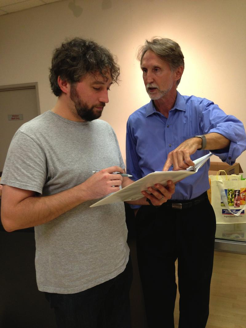 Playwright and actor David Marquis (right) goes over his play 'I Am A Teacher' with Brian Witkowicz, who plays the teacher in part two.