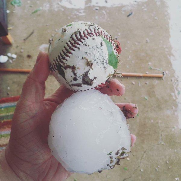 Hail as big as baseballs pounded Wylie Monday  night.