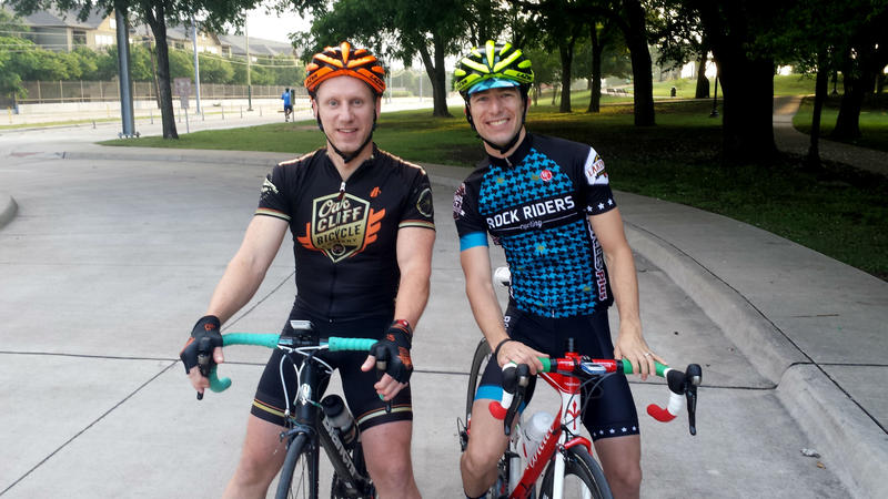 Todd Brashear (left) and Kevin Krekeler are cycling to their office 22 miles away.