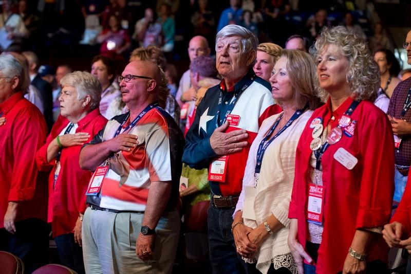 Front row delegates at the 2014 Texas Republican Convention in Fort Worth.