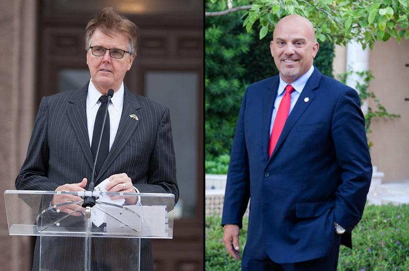 Lt. Gov. Dan Patrick, left, called on Fort Worth Independent School District Superintendent Kent Scribner to resign over the district's bathroom guidelines for transgender students.