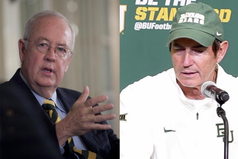 Baylor President Ken Starr (left) and Baylor Head Football Coach Art Briles (right).