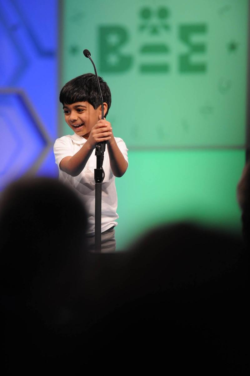 Akash Vukoti, 6, of San Angelo, Texas was the youngest competitor in the Scripps National Spelling Bee this year.