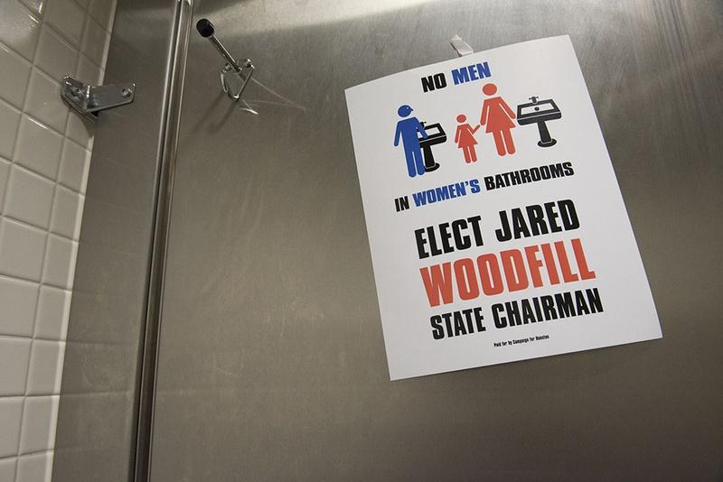 A sticker in the women's restroom at the Dallas Convention Center placed by the Jared Woodfill campaign.