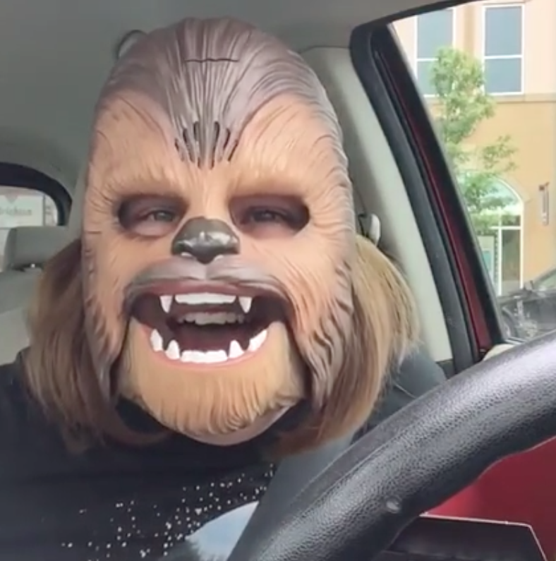 Candace Payne took a video of herself wearing a wookiee mask and it has been viewed by millions on Facebook.