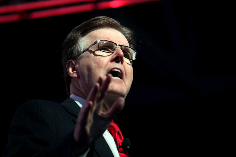 Lt. Gov. Dan Patrick speaks to a crowd at the Texas GOP convention.