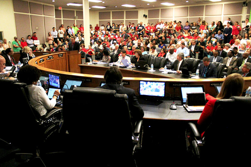 Supporters and opponents packed the board chamber to testify about the guidelines.