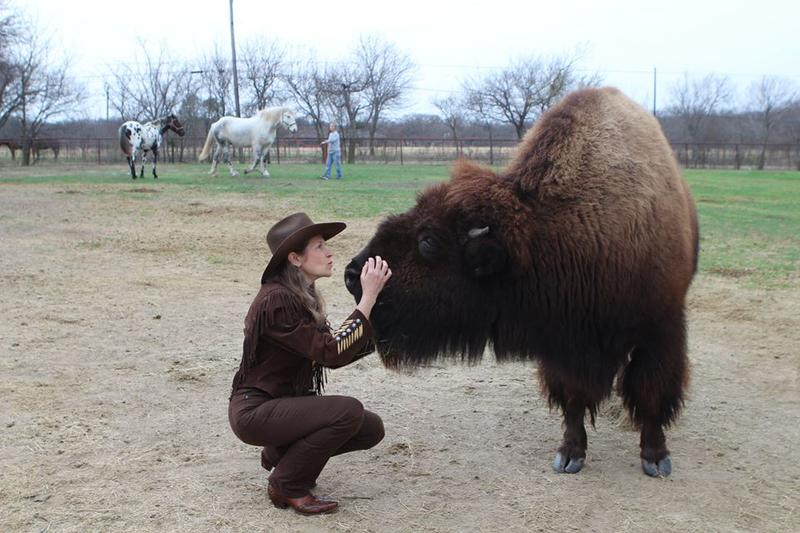 Karen Schoeve with Bullet, an 8-year-old bison.