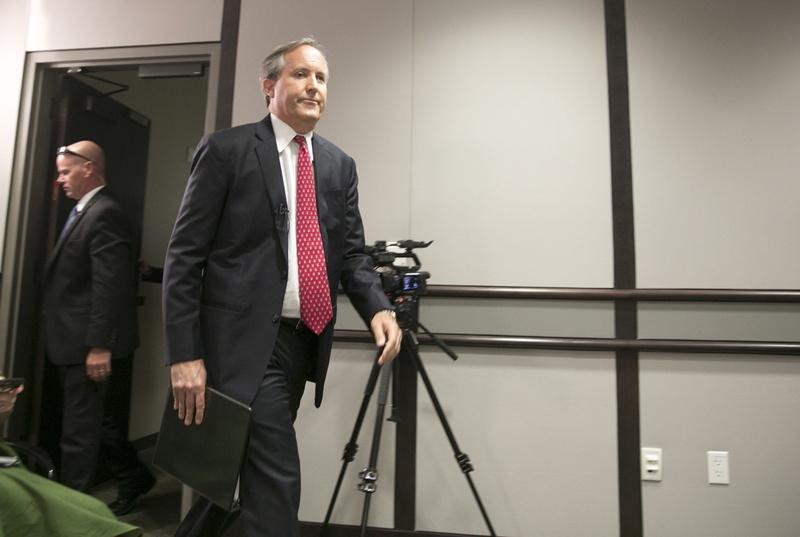 Texas Attorney General Ken Paxton announces information on a lawsuit filed in U.S. District Court against several federal agencies regarding bathroom and locker room rules in Texas public schools earier this week.