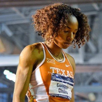 Courtney Okolo runs the 400 meter for the University of Texas at Austin.