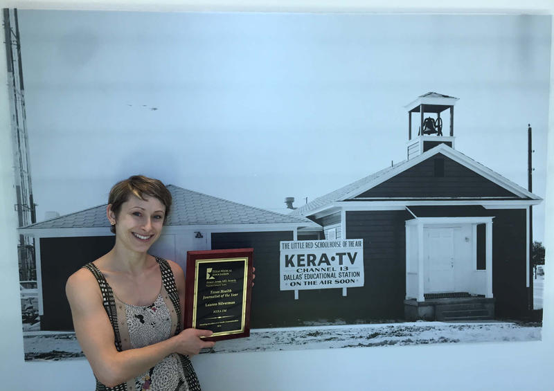 KERA's Lauren Silverman chose a historical spot in the KERA studios to display her Anson Jones, MD, Award from the Texas Medical Association for Texas Health Journalist of the Year.