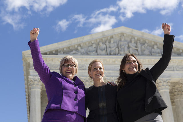 Amy Hagstrom Miller, founder and CEO of Whole Women's Health, with Nancy Northup, president of the Center for Reproductive Rights, and Ilyse Hogue, president of NARAL Pro-Choice America.