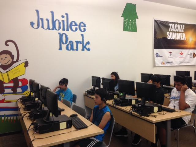 Students working on Istation computers at Jubilee Park.
