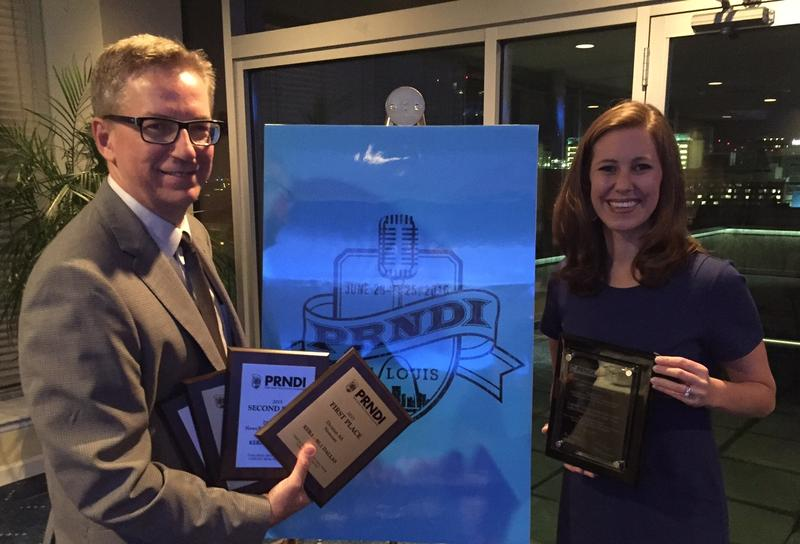 Courtney Collins, right, and Rick Holter collect KERA's record five awards from the Public Radio News Directors Inc.