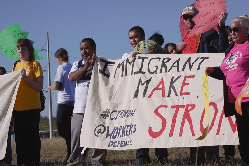 Immigrants and activists participate in press conference and rally on Nov. 19, 2015, before a 37-mile march designed to show support for immigration reform.