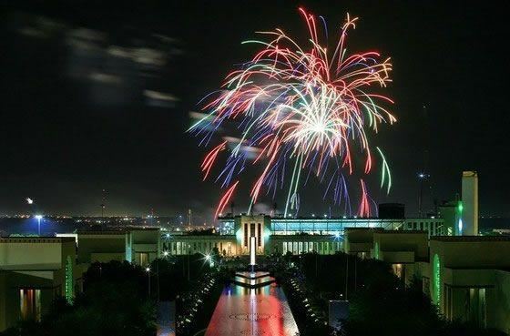 Fireworks over Fair Park in Dallas.