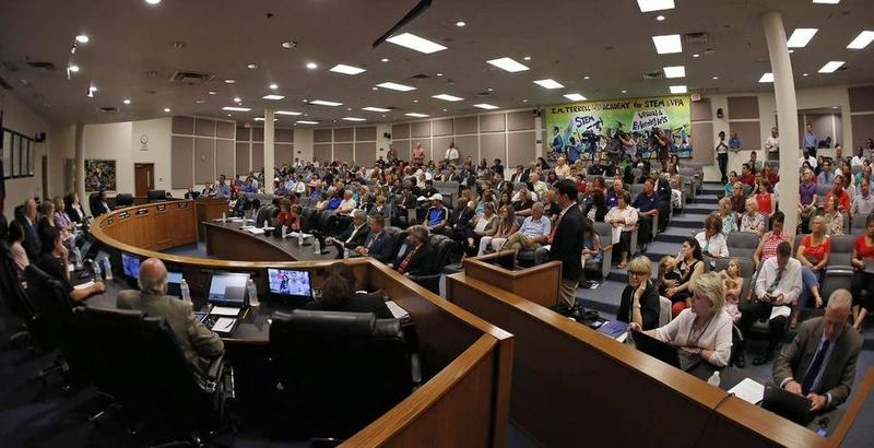 The Fort Worth school board meeting room was nearly full June 28, 2016.