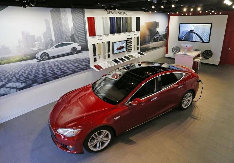 A Tesla Model S on display in the company's University Park show room in Fort Worth.