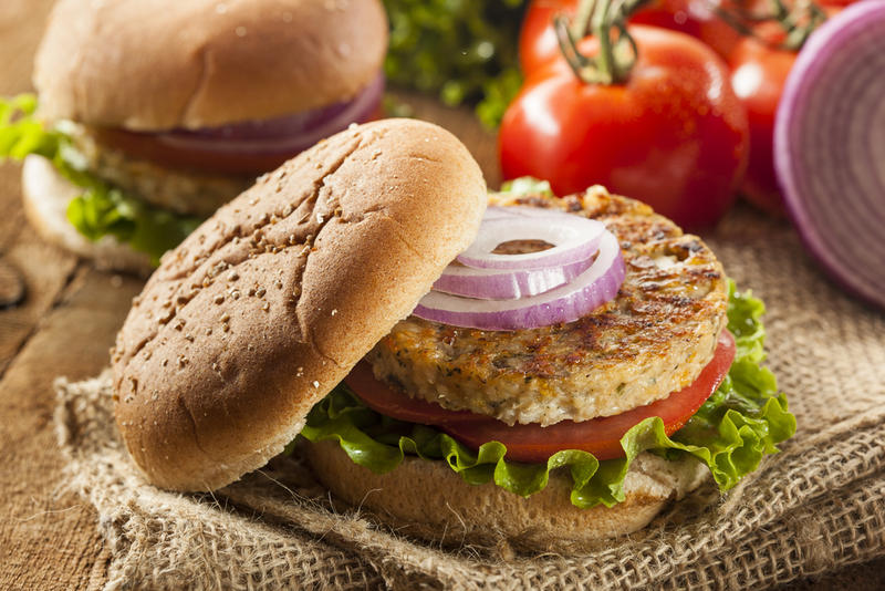 Organic black bean burger with lettuce and tomato