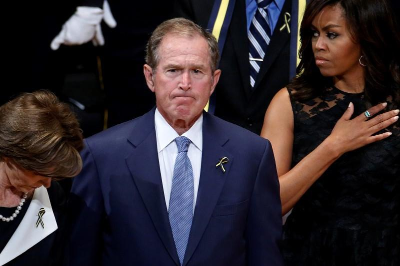 Former President George W. Bush spoke at the memorial service in Dallas.