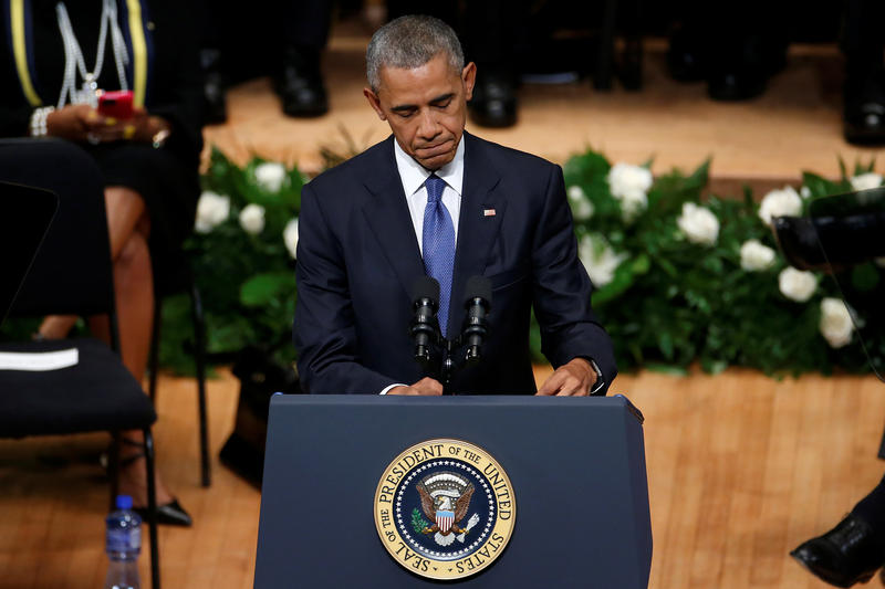 President Obama at the memorial service in Dallas Tuesday afternoon.