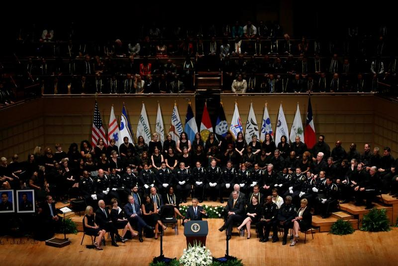 President Obama spoke during the memorial service. Former President George W. Bush also spoke, as did Dallas Mayor Mike Rawlings and Dallas Police Chief David Brown.