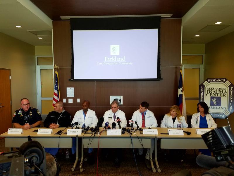 From L-R: Capt. Dan Birbeck, Dr. Alex Eastman, Dr. Brian Williams, Dr. Joseph Minei, Dr. Todd Minshall, Jorie Klein and Karen Watts.