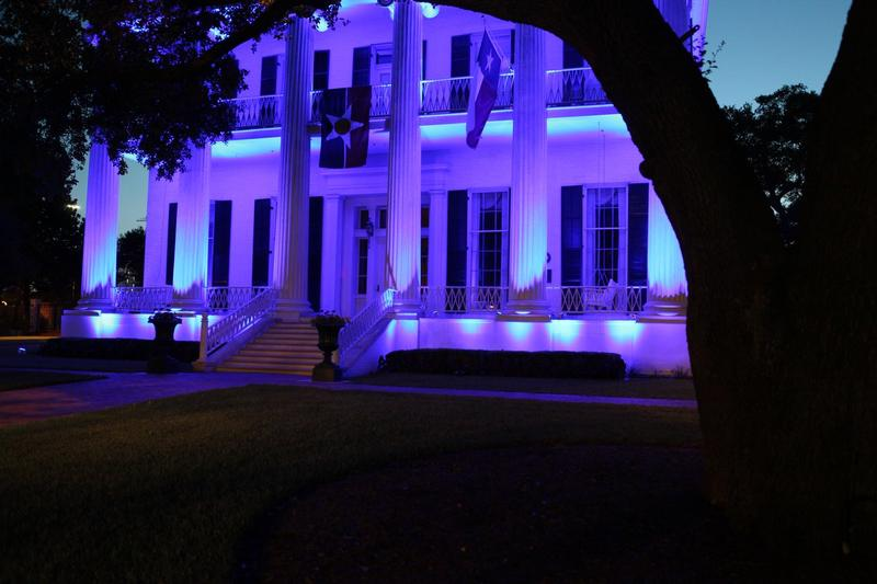 The Texas Governor's Mansion lit in blue after the July 7 police ambush in Dallas.