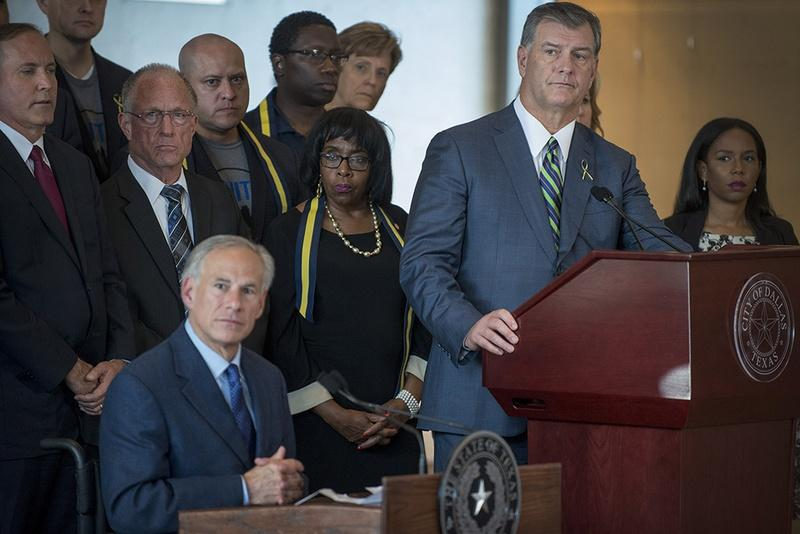 Gov. Greg Abbott, Dallas Mayor Mike Rawlings and other state leaders gave a press conference on the shootings in Dallas on Friday.