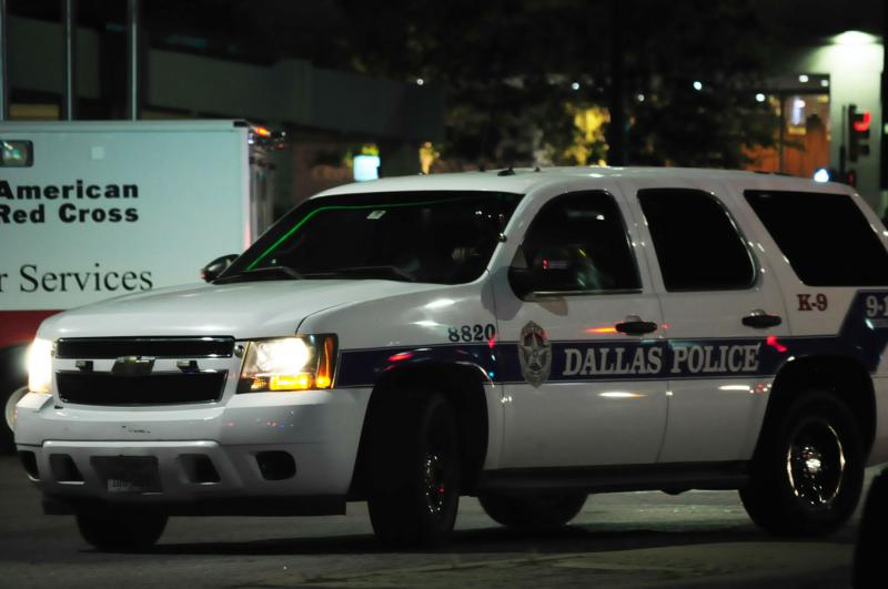 Dallas police vehicle downtown on Thursday night.