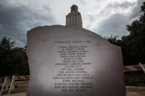 The granite memorial that will be dedicated on the campus of the University of Texas at Austin on Monday in memory of the victims of Charles Whitman's murderous on-campus shooting spree.