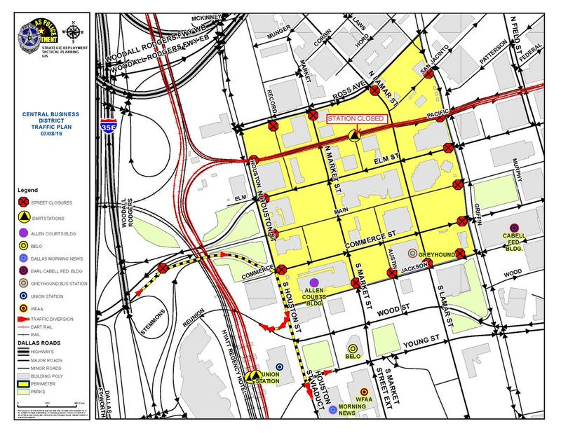 Map of downtown Dallas street closures from city officials.