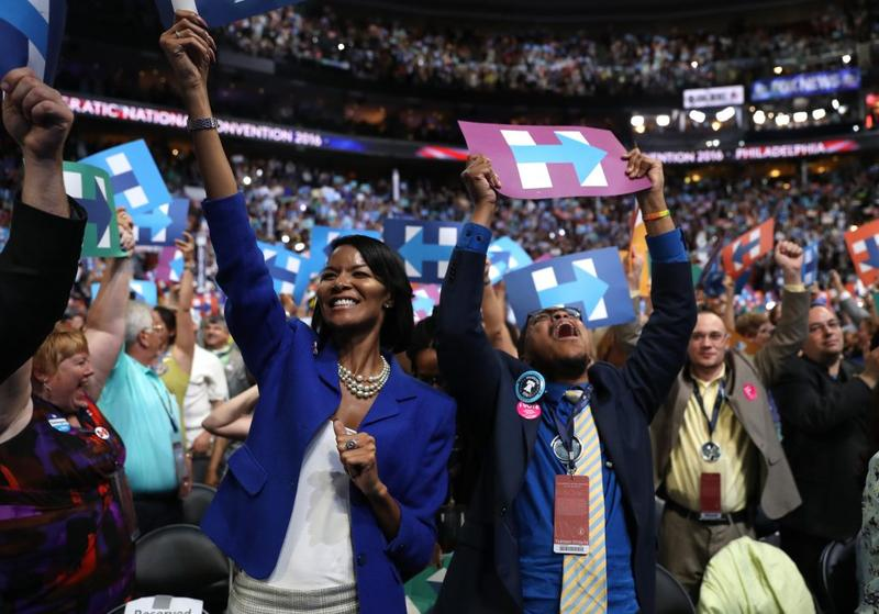 Hillary Clinton supporters exult at the Democratic National Convention.