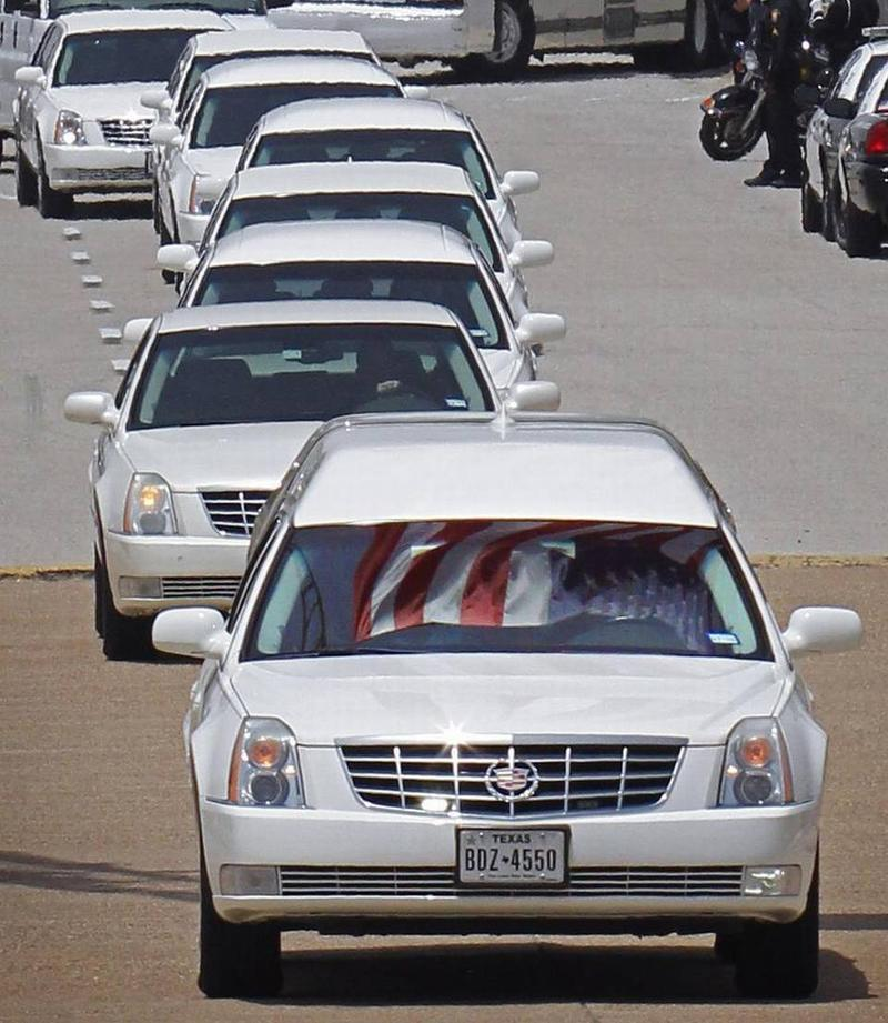 The procession for Patrick Zamarripa heads to the Dallas-Fort Worth National Cemetery in Dallas.