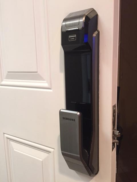 The electronic door handle means no keys are necessary, and no handle to turn.
